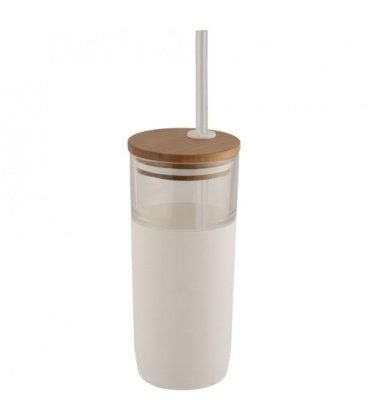 Arlo 600 ml glass tumbler with bamboo lidArlo 600 ml glass tumbler with bamboo lid Avenue