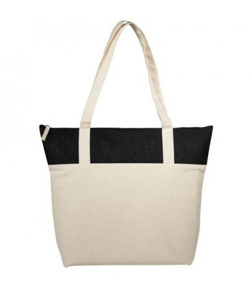 Jones 407 g/m2 zippered cotton and jute tote bagJones 407 g/m2 zippered cotton and jute tote bag Bullet
